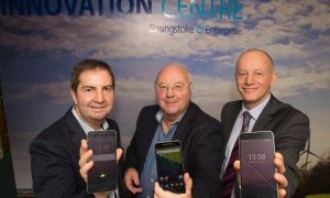 Image (from left-right): Adrian Braine, entrepreneur in residence at SETsquared's Basingstoke hub; Cllr Clive Sanders, Council Leader for Basingstoke and Deane Borough Council; Keith Robson, Chief Operating Officer, University of Surrey 5G Innovation Centre