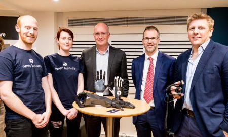 Image (from left to right): Joel Gibbard, CEO at Open Bionics; Samantha Payne, COO at Open Bionics; Simon Bond, Innovation Director at SETsquared; Frank Ratcliff, Senior Project Manager at Wessex AHSN; Nigel Clarke, CEO at Morgan Innovation and Technology