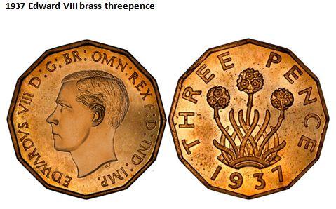 1937 Edward VIII brass threepence
