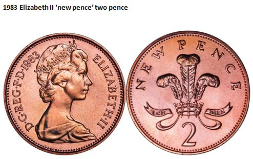 1983 Elizabeth II 'new pence' two pence