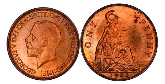 1933 George V penny