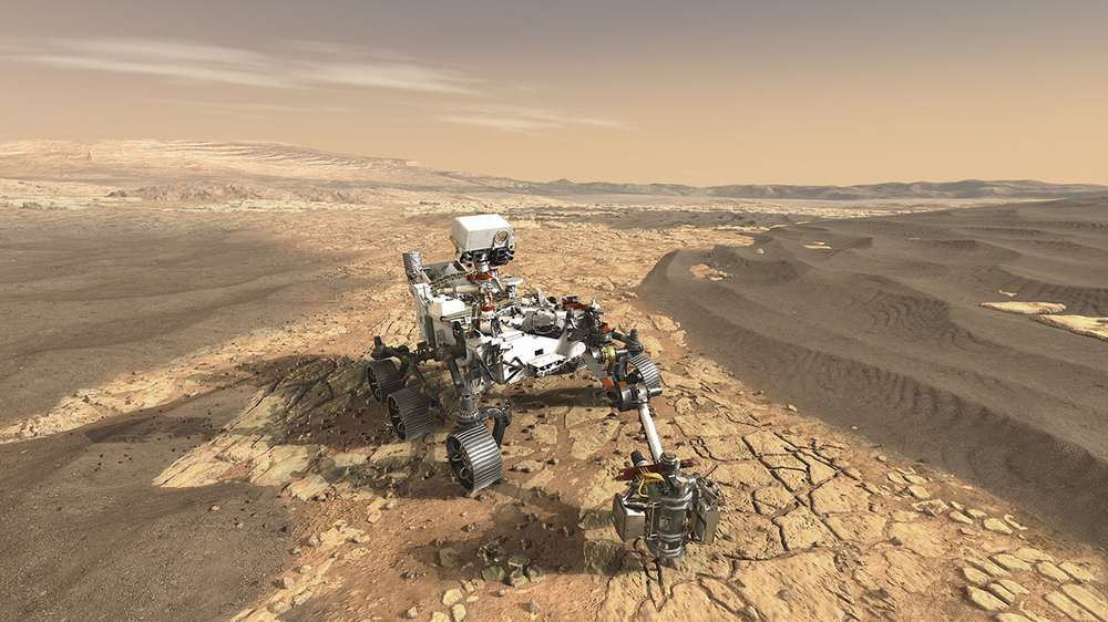 NASA/JPL-Caltech. This illustration depicts NASA's Mars 2020 rover on the surface of Mars. The mission, targeted for launch in July/August 2020, takes the next step by not only seeking signs of habitable conditions on Mars in the ancient past, but also searching for signs of past microbial life itself.