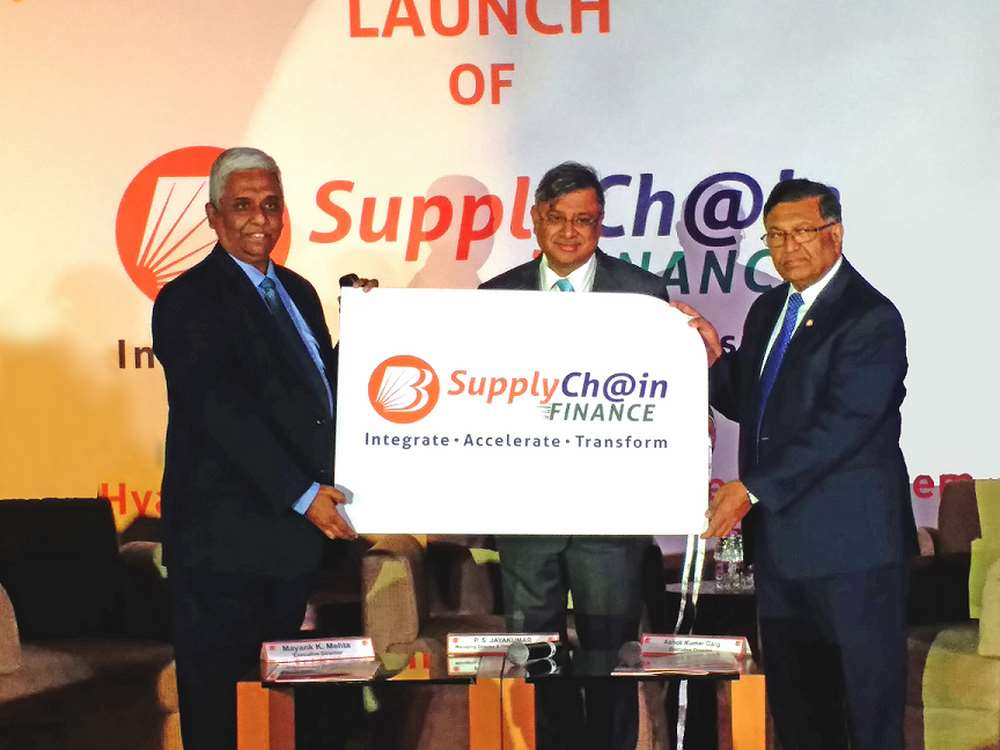 "Bank of Baroda formally launches the digitized financing product ""Supply Chain Finance"" empowered by iGTB's Digital SCF solution at Grand Hyatt in Mumbai.  (From L to R: Mr. Mayank K. Mehta, Executive Director, Mr. P. S. Jayakumar, Managing Director and Chief Executive Officer, and Mr. Ashok Kumar Garg, Executive Director of Bank of Baroda)"