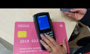 Demonstrating contactless card payment with Biometrics by Fingerprints