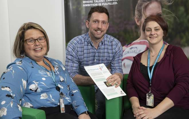 L&G Manager Sarah Evans, Head of People Experience and Development Paul Durkin and former Elinor Worthington